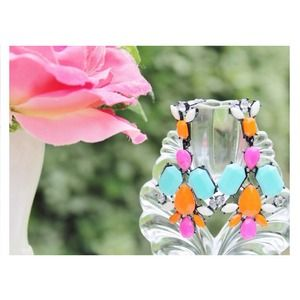 Jewelry - Color Mix Drop Earrings [Light Blue-Orange-Pink]