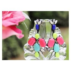 Jewelry - Color Mix Drop Earrings [Pink-LightBlue-Yellow]
