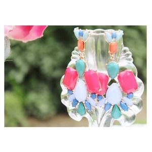 Jewelry - Color Mix Drop Earrings [Pink-Periwinkle-Sage]