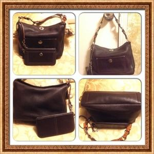 SALE was $250 Brown coach leather bag & wristlet
