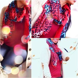 Accessories - Animal Print Bright Colors scarf