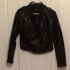 mossimo Jackets & Blazers - Black faux leather biker jacket
