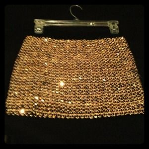 Gold sequin mini skirt!