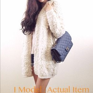 Jackets & Blazers - Bundle Beige thick fur cardigan+ blue floral dress