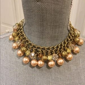 Pink and gold statement collar necklace