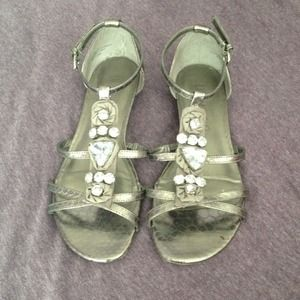 Shoes - Silver jeweled sandal