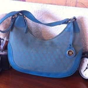 Blue Canvas & Leather Hobo
