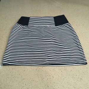 High waisted black and white striped skirt