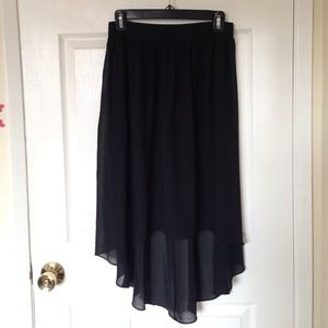 Sheer black hi-low skirt