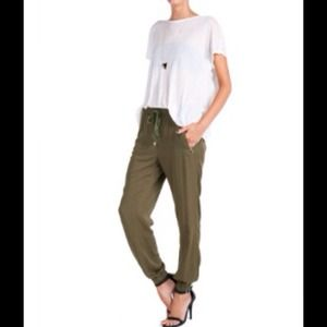 Pants - Military Green Jogger Pants + Cuffed Hems