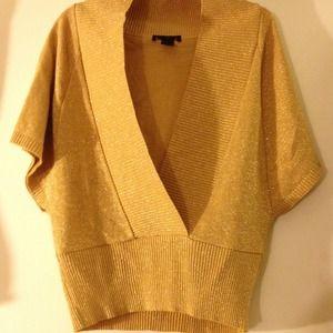 Gold sparkly dolman sweater 1X Ashley Stewart