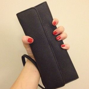 Clutches & Wallets - Slim black leather-look wristlet wallet