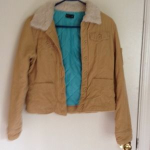 Corduroy jacket with faux fur