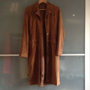 Jackets & Blazers - Suede knee length jacket, brownish brick color