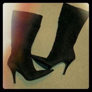 Sale! Suede Dark Brown ruched boots