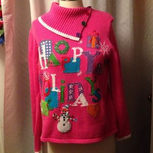 BRIGHT PINK HOLIDAY SWEATER   SIZE PS   LIKE NEW