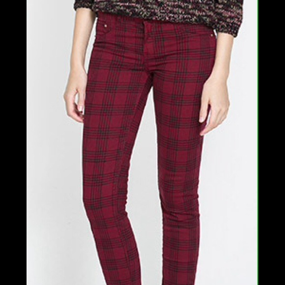 Zara - 🎉Host pick🎉NWT Zara Red plaid Jean Trousers from ...