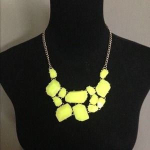 Neon green statement necklace.