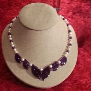 Jewelry - Fresh Water Pearl and Amethyst Necklace