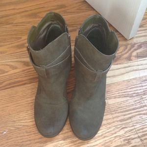 "Shoemint Shoes - ShoeMint Olive Green ""Emma"" Booties Size 8.5"
