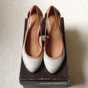 Corso Como Shoes - Corso como tan and beige cut out pumps