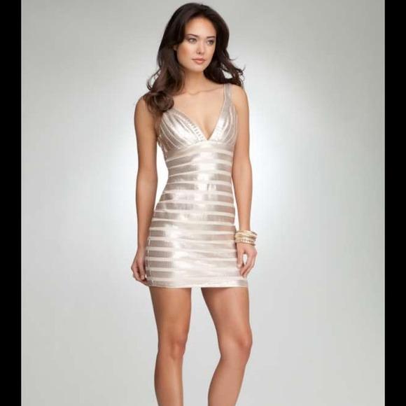 Bebe Double V Banded Sequin Dress