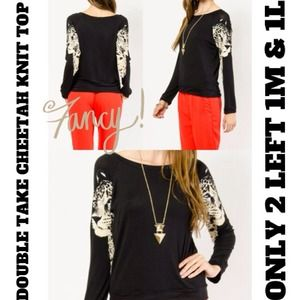 ⚡FLASH SALE⚡CHEETAH FACE KNIT TOP ONLY 1 LEFT in M
