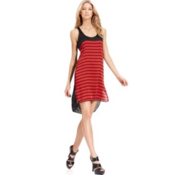 Michael Kors Dresses Nwts Red And Black Striped Dress Poshmark