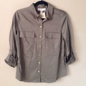 New Safari Green Buttoned Top