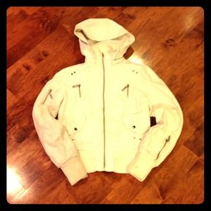 Faux Leather Bomber  jacket with hood size S