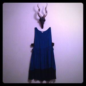 Indigo blue baby-doll dress w/ black trim. Size S