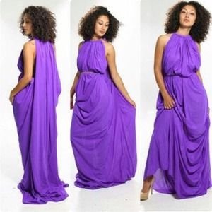 Handmade draped purple goddess dress