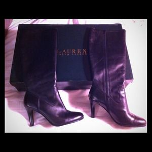 Black 9.5 Ralph Lauren Calf Boot