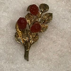 Jewelry - 🌹Vermeil and Carnelian Brooch🌹