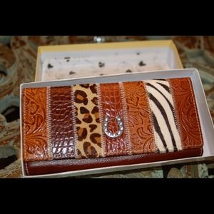 Handbags - Brown Leather and Animal Print Wallet