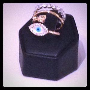 Jewelry - 🎉Host Pick🎉Evil Eye Trio Ring Set
