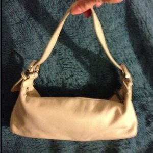 Small ivory genuine leather baguette handbag