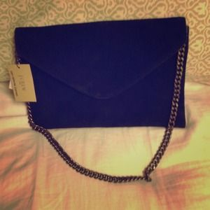 J. Crew black suede envelope bag with bronze chain