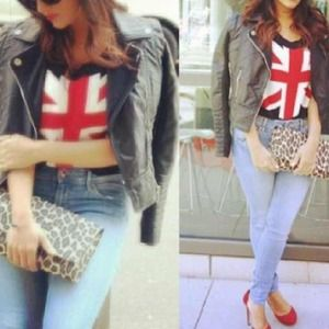British flag cropped sweater