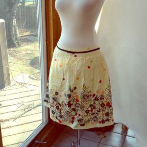 Yellow pleated polkadot skirt