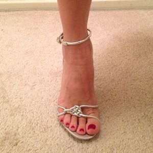 3aac23c5d8b6 Cathy Jean Shoes - Silver Cathy Jean strappy high heels.