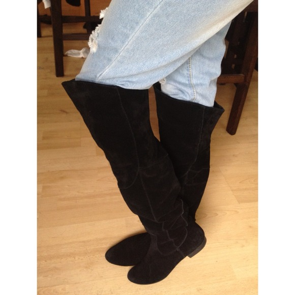 60870d48e39 Boots - Black suede over the knee boots