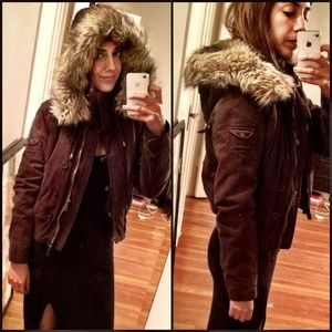 Abercrombie & Fitch Outerwear - Fur bomber parka brown Abercrombie jacket