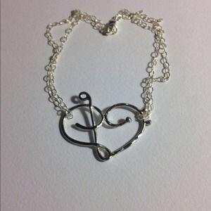 Music love heart bracelet, SS