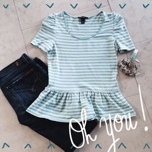 Forever 21 Tops - Forever 21 Striped Peplum Top