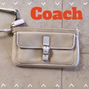 Coach Clutches & Wallets - Coach Wristlet with Tan Fabric & White Leather