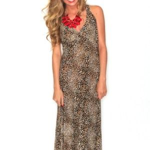 ❗SALE❗New Cat Scratch Leopard Maxi Dress
