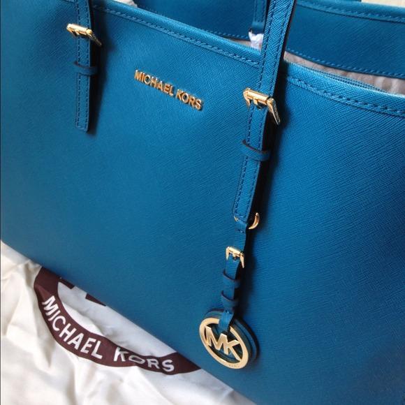 19756f3bdadb Michael Kors Bags | Turquoise Leather Tote | Poshmark