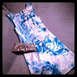 Marbled Waters Silk Blend Dress Anthropologie
