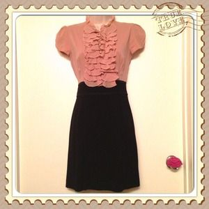 Bebe dress in pink & black with ruffles